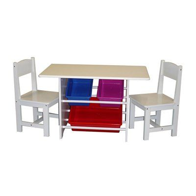 RiverRidge 01-004 RiverRidge® Kids Kids Table with Two Chairs and Three Plastic Storage Bins
