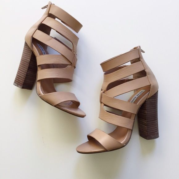 """Steve Madden nude strappy high heels Size 6.5 but fits more like a size 6. Great for any outfit. Please use """"offer"""" button. NO TRADES. Steve Madden Shoes Heels"""