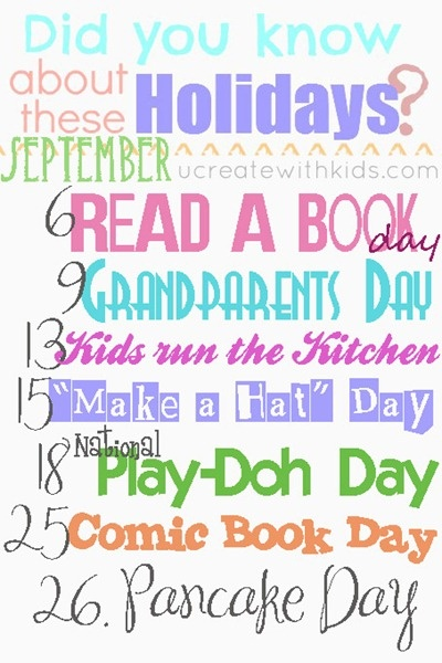 September Holidays from Ucreate site.  Awesome site with great links to other awesome sites.