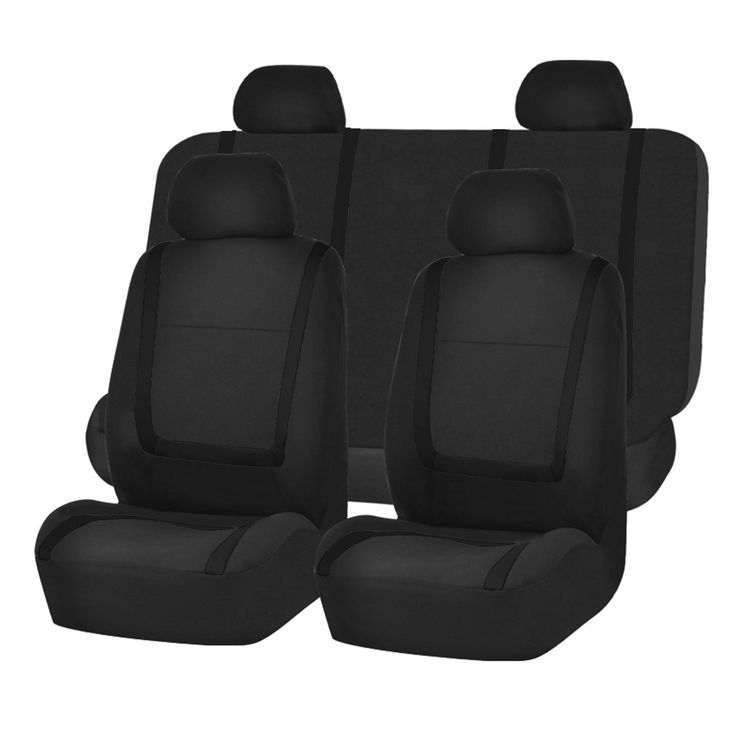 FH Group Black Unique Flat Cloth Auto Seat Covers Full Set
