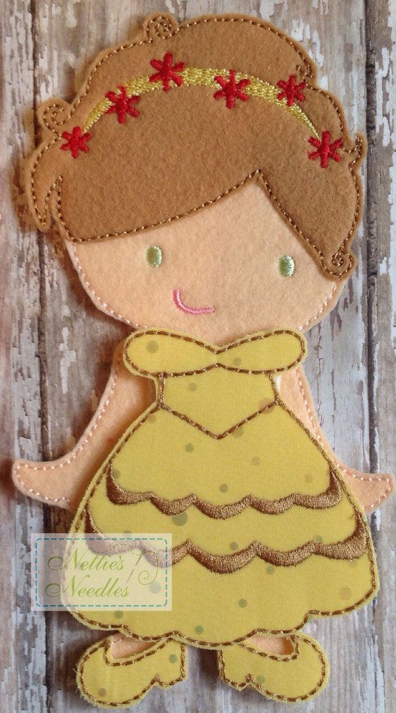 Belle Felt Doll Outfit by NettiesNeedlesToo on Etsy, $8.00...such a cute dress up doll in felt