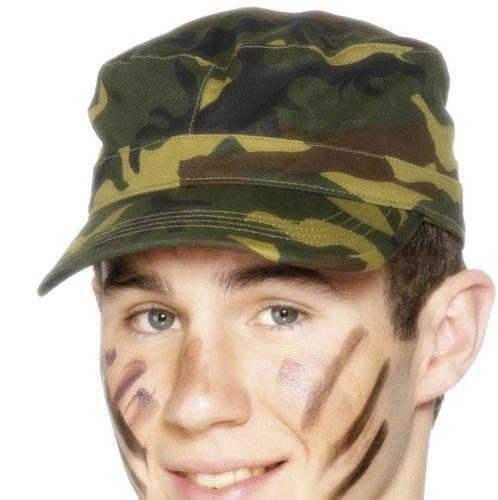 Mens-Ladies-Unisex-Army-Fancy-Dress-Cap-Soldier-Military-Camo-1st-Class-Postage