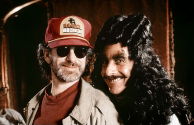 Steven Spielberg and Dustin Hoffman on the set of Hook