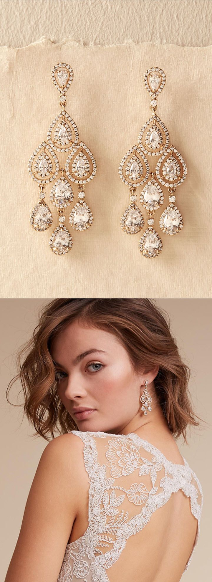 Gold Chandelier Earrings for Wedding or Special occasion