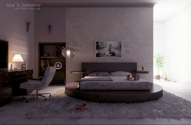 Love how the bed is on a circular platform