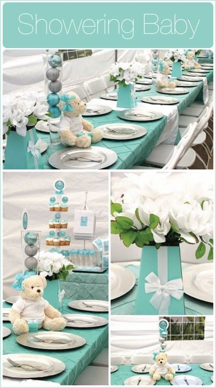 Pin tuck linen, baby shower decor, teal baby shower, teddy bear, silver chargers