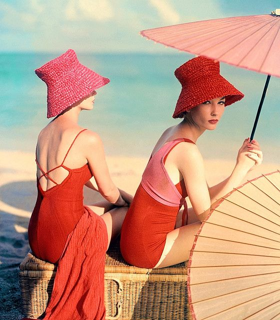 Such warm, relaxing, beautiful hues at work in this elegant beach shot from 1963. #vintage #beach  Need to find me a hat like that for the #BrilliantRoadTrip