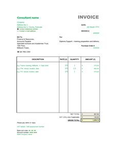 sample consultant invoice excel based consulting invoice template consultant invoice format