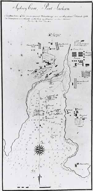 Map of Sydney Cove 1788, with link to National Library of Australia digital classroom resources.