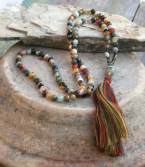 Mala necklace made ​​of 108, 8 mm - 0.315 inch, beautiful gemstones such as agate, jasper, quartz, pyrite and shell pearls. The guru bead is a jade gemstone - look4treasures on Etsy