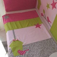 Dispo - couverture bébé polaire toute douce - nichoir oiseaux étoiles vert pomme anis rose fuchsia rose