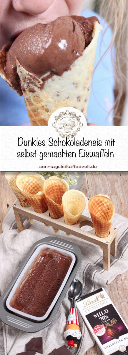 Wer dunkles Schokoladeneis macht ist hier genau richtig. Dazu gibt es selbst gemachte Eiswaffeln #prsample icecream