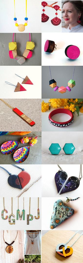Handpainted jewelry by Eva Victoria on Etsy--Pinned+with+TreasuryPin.com
