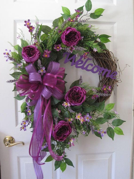 Spring Wreath, FREE SHIPPING, Summer Wreath, Front Door Wreath, Mother's Day, Welcome Sign, Cabbage Roses, Purple Spring Flowers Wreath