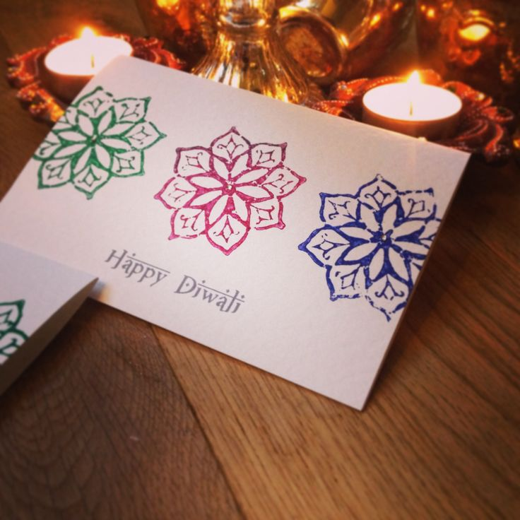 Handmade greeting cards for Diwali. Using traditional