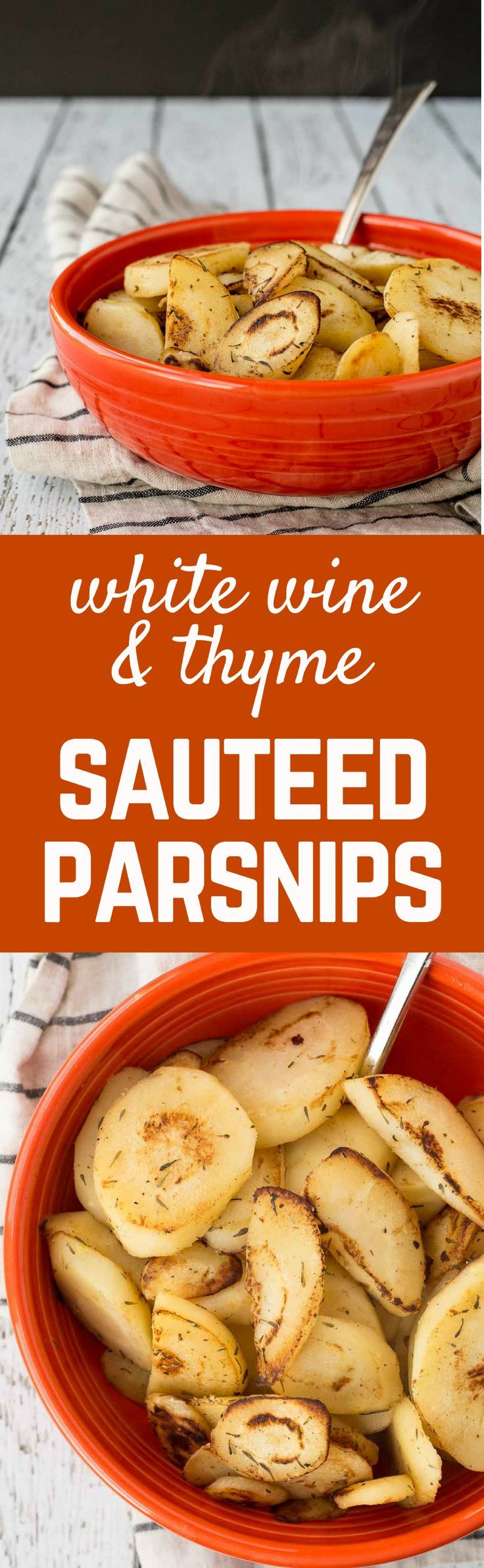 A classy yet stand-out side dish, these sautéed parsnips are flavored with wine, butter, and thyme. They're the perfect addition to any meal - especially Thanksgiving! Get the easy recipe on http://RachelCooks.com!