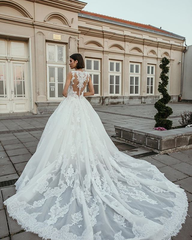 Floral Romantic Cap Sleeved Plunging Wedding Gown Lunss