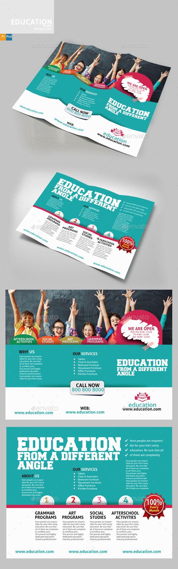 Education Three Fold Brochure Template PSD, Vector EPS, AI Illustrator