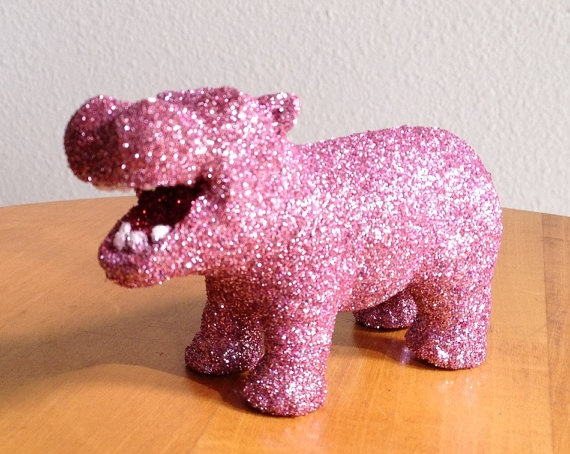 Such a happy hippo, can I get a manatee just for me tho. This gives me a smile w all the glittered glory :)