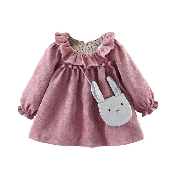 * Flounced detail<br /> * Back zip<br /> * Pompon decor<br /> * Soft and breathable<br /> * Material: 80% Cotton, 20% Spandex<br /> * Machine wash, tumble dry<br /> * Imported<br /> <br /> Featuring lovey flounced detail and pompon decor, this long-sleeve dress gives your girl a fashionable and sweet look.