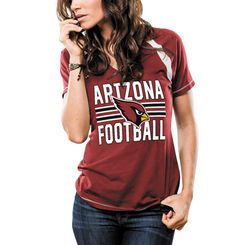 Women's Arizona Cardinals Majestic Cardinal Game Day V-Neck T-Shirt