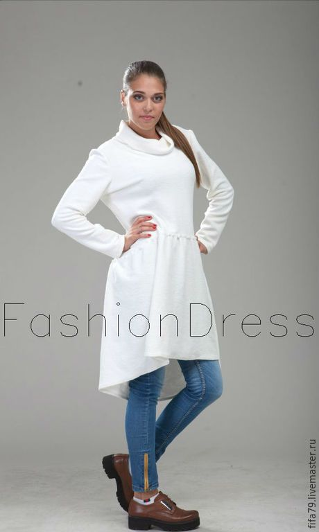 Купить Белая Асимметричная Толстовка Платье - белый, толстовка, толстовка женская, туника, туника из хлопка