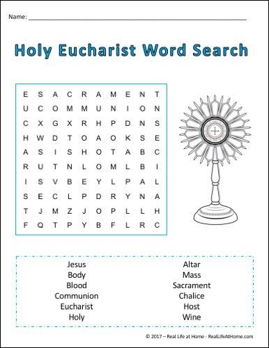 Holy Communion Word Search Printable Perfect For First