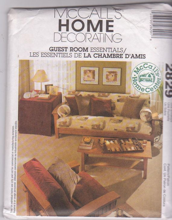Sewing pattern for Guest Room Essentials futon covers chair pads