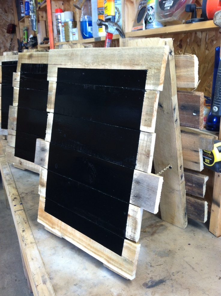 Chalk boards/ signs made out of recycled palets.