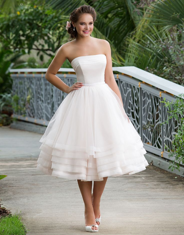 Sweetheart sweetheart style 6131 A strapless pleated tulle neckline and natural waist with soutache trim accent this knee length ball gown for the fun and alternative bride.