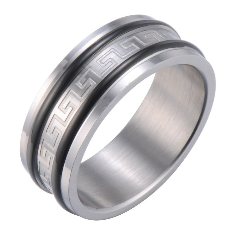 R&B Herren Ring Edelstahl - Unendlichkeit - Griechisches Symbol (Silber, Schwarz): 19,90€