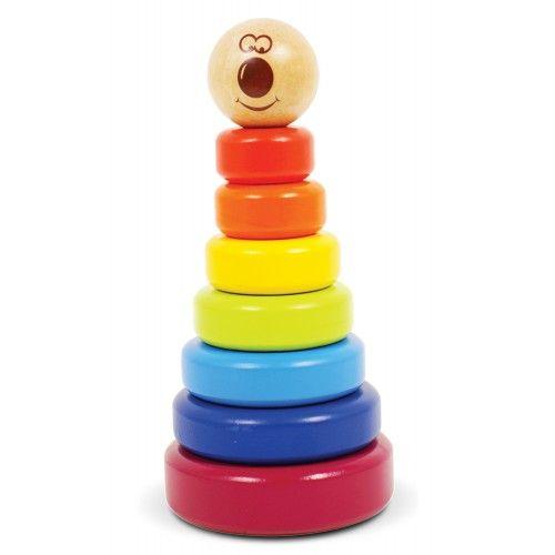 Jucărie din lemn pentru stivuit pe baza potrivirii formelor geometrice ale fiecarui inel - fara a avea un ax central. Promovează învăţarea formelor geometrice, coordonarea mână-ochi, abilităţile motorii fine şi cele de rezolvare a problemelor. Finisaj cu vopsea non-toxică pe bază de apă. Abilități dezvoltate: Abilităţi motorii fine, Coordonare mână-ochi, Abilităţi de rezolvare a problemelorMateriale: lemn de mesteacăn și MDF, greutate 522g, dimensiuni: 10.5x10.5x20.5cm De la 2 ani