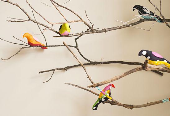 Branches avec Masking Tape - petits oiseaux