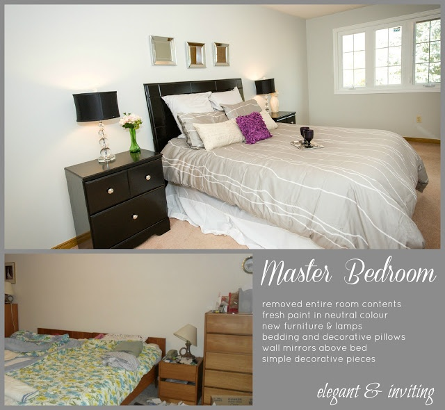 Master Bedroom - Brampton home staged by Home Dreams