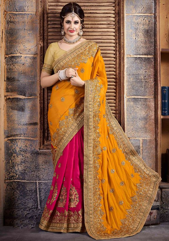 Yuvika Chaudhary Rani Pink and Golden Yellow Saree