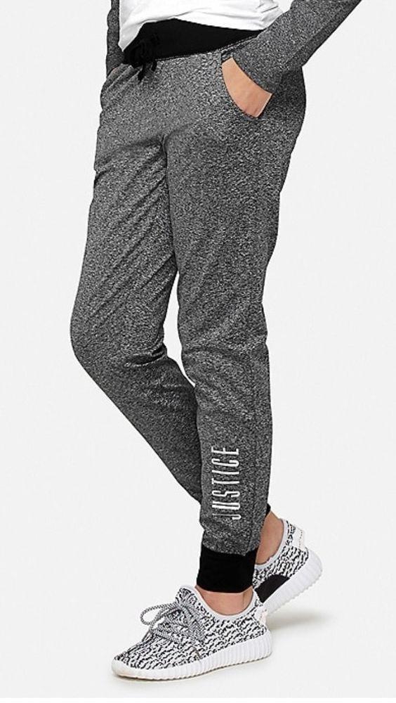 7d3cbf61d85b4 NWT JUSTICE GIRLS Joggers leggings size 10 Super Cute! Retails 22.90 gray/  black #fashion #clothing #shoes #accessories #kidsclothingshoesaccs ...