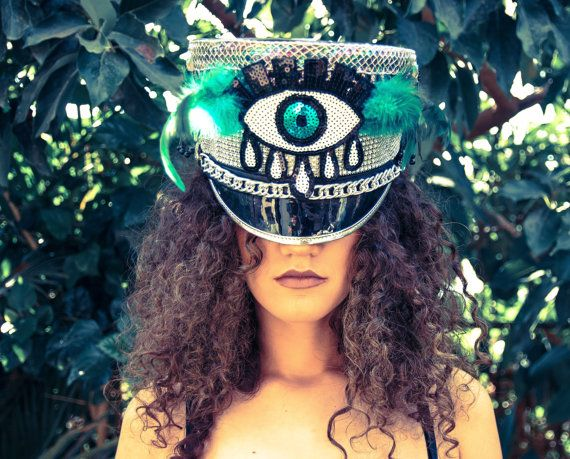 Burning Man Hat /Festival Hat/ pimped up Marching Band Hat/ third eye
