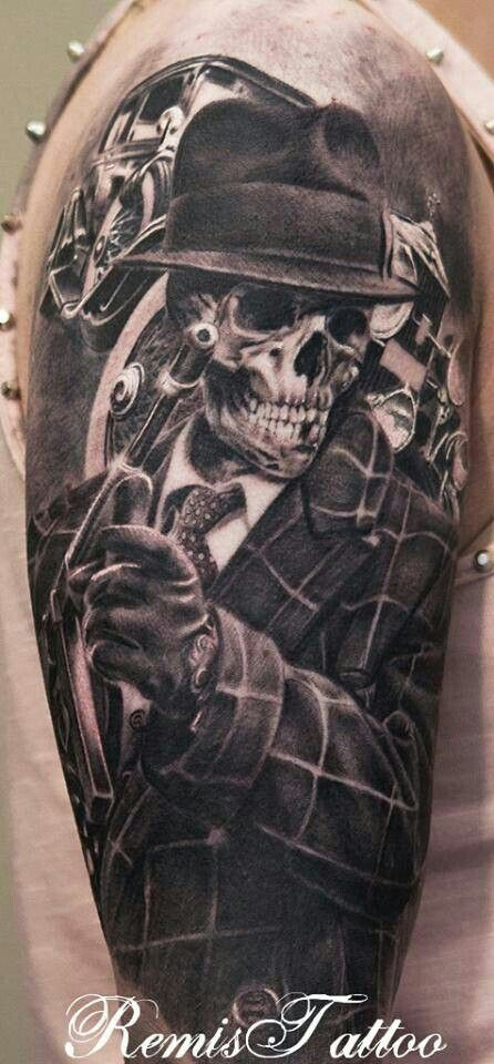 Sick Mafia skeleton. Love this. Possibly  a calf piece