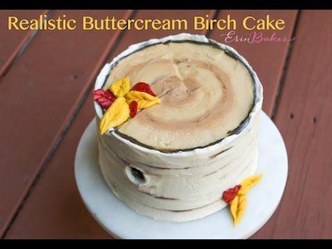 Realistic Buttercream Birch Tree Cake Tutorial - YouTube