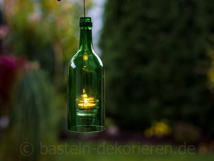 DIY Windlicht aus alten Glasflaschen