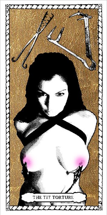 Tit Torture Tarot Card by Passiones Martyrum (print on special paper, watercolor, golden leaf - 9 x 18 cm/3,5 x 7 inches)