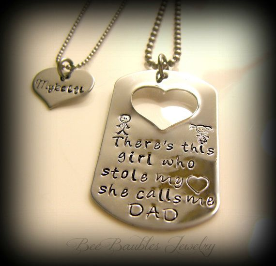 Dad And Daughter Gifts Part - 21: Fathers Day Gift - Hand Stamped - Father Daughter Dog Tag Jewelry Set -  Hand Stamped