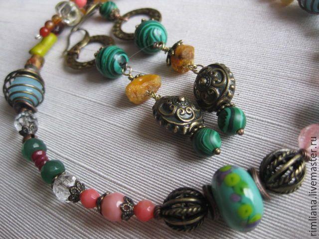 Купить Оберег от сглаза Комплект из натуральных камней - разноцветный, ожерелье, амулет талисман оберег, подарок