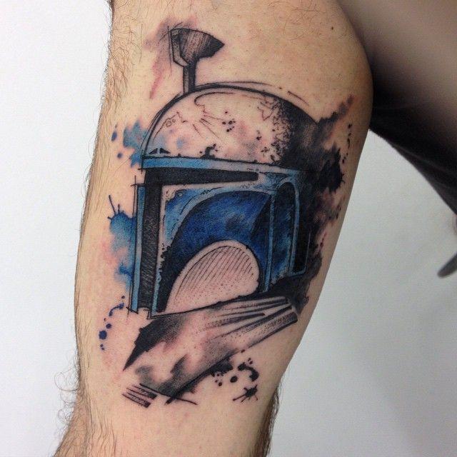 Watercolor Boba Fett Star Wars Tattoo on Leg