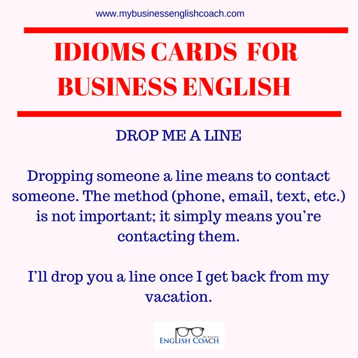 Business English idioms and phrases : drop me a line definition and example | Business English learning | Business English speaking