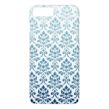 Feuille Damask Pattern Gradient Dk Blue-Teal on Wt iPhone 8 Plus/7 Plus Case - blue gifts style giftidea diy cyo