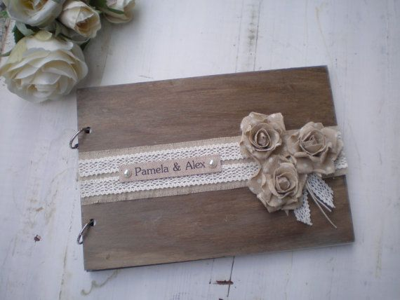 Rustic personalized guest book -Wooden guestbook or photo album  -shabby chic wedding