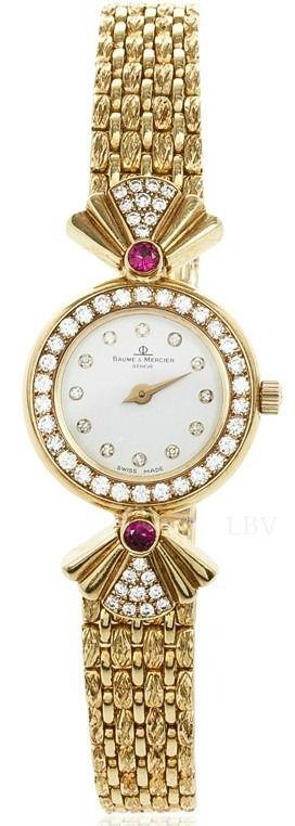 Rosamaria G Frangini | High Whatch Jewellery | Baume & Mercier High Jewelry Diamond 18K Yellow Gold Womens Wristwatch 20 MM |