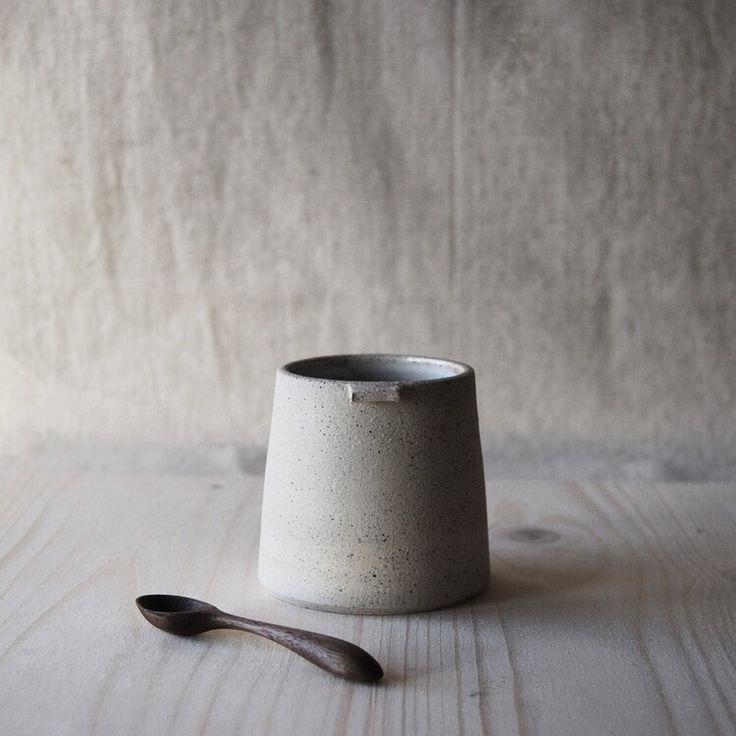 Stoneware cup by Jono Smart. Spoon by Luke Hope.