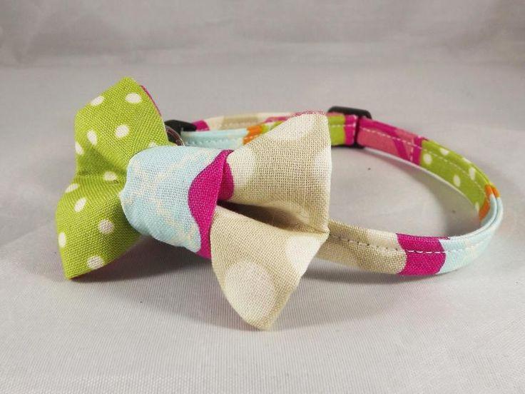 Patchwork Cat Collar, Pink Cat Collar, Gray Cat Collar, Breakaway Cat Collar, collar flower or Bow tie optional, Kitten collar, cat bell